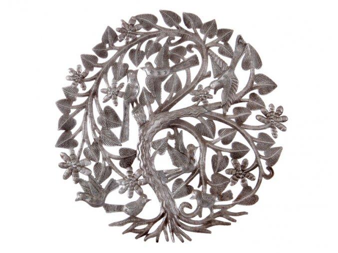 Dekorace na zed´- Plastika listnatý strom života 36cm (7 ptáčků)