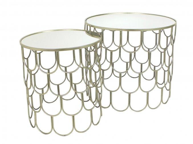 Odkládací stolek kovový se zrcadlem ø 61,5cm