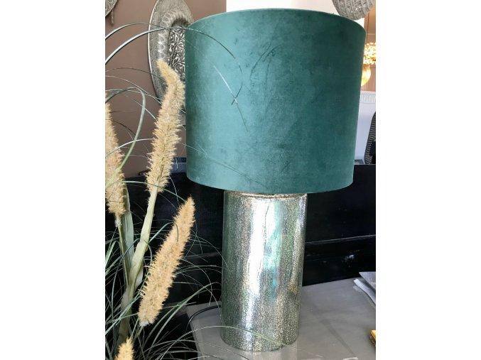 stolni-lampa-se-sklenenou-nohou--zelene-stinidlo