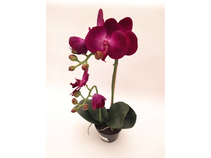 umela-dekorace-orchidea-v-kvetinaci-tmave-fialova-45cm