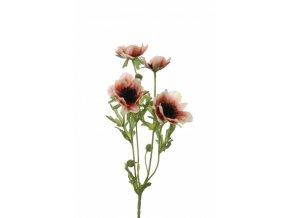 Umělá květina - Sasanka sv.růžová x4
