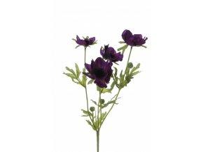 Umělá květina - Sasanka tmavě fialová x4