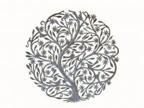 Dekorace na zeď - Plastika kvetoucí strom života 85cm (9 ptáčků)
