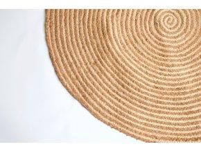 Kruhový koberec z juty a hnědé textílie 150