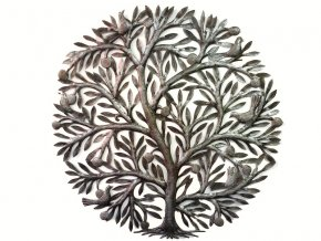 Dekorace na zeď - Plastika ovocný strom života 85cm (5 ptáčků)