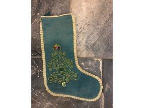 Zelená vánoční punčocha