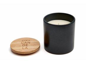 Vonná svíčka ze sójového vosku Munio Candela s víčkem v černé keramice