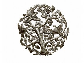 Dekorace na zed´- Plastika ovocný strom života 36cm (4 ptáčci)