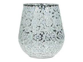 Svícen na čajovou svíčku, skleněný, bílý ornament