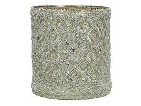 Svícen na čajovou svíčku, zlaté sklo, kosočtverec