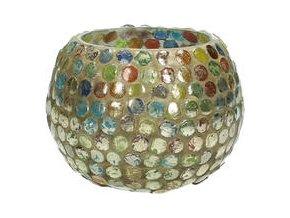 Svícen na čajovou svíčku skleněný, vitráž 9x7