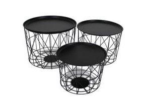 Odkládací stolek černý s úložným prostorem, sada 3 kusů