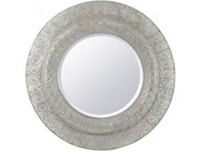 Nástěnné zrcadlo kulaté, R=90 cm, stříbrné, tepané, filigrán