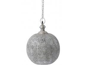 Lustr kovový v šedé patině a filigránským tepáním