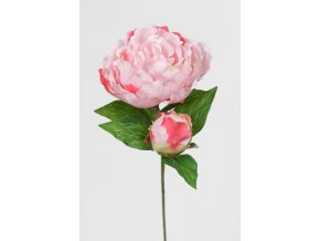 Umělá květina - Pivoňka růžová s poupětem