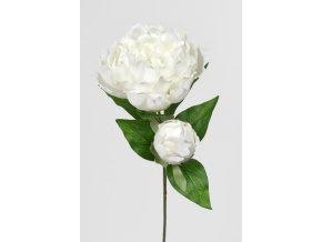 Umělá květina - Pivoňka bílá s poupětem