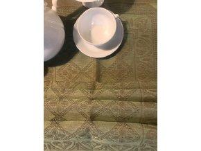 Běhoun na stůl lněný 50x150, zelená barva