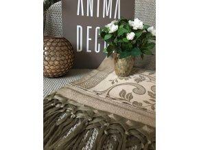 Běhoun na stůl lněný s třásněmi  70x170, hnědý