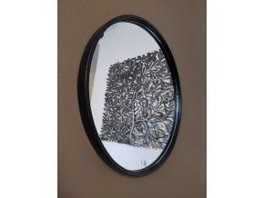 Zrcadlo kulaté černé tenký rám ø 60cm