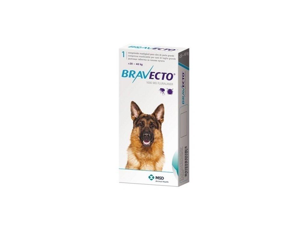 MSD Bravecto 1000 mg pro psy mezi 20 a 40 kg 1 zvykaci tableta 6N4YZJX 11049