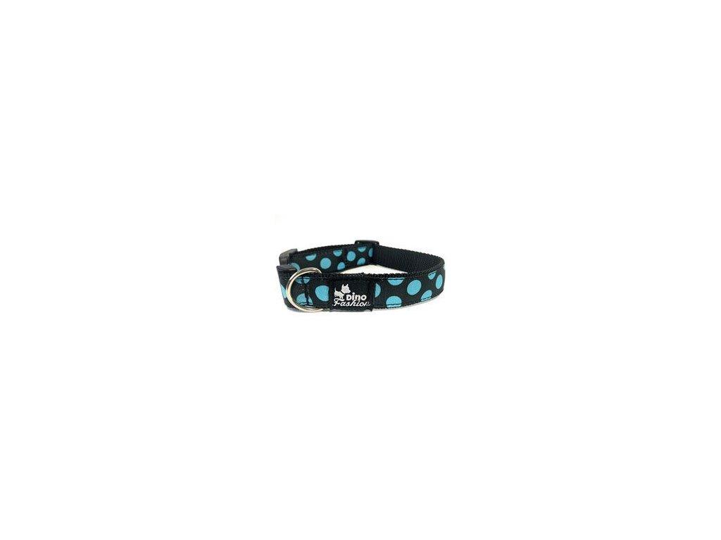 Obojek DINOFASHION Modrý puntík 35/2,5cm