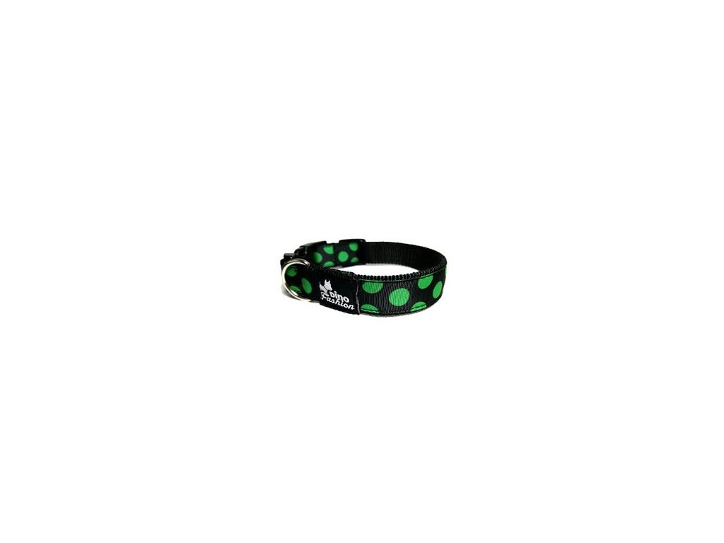Obojek DINOFASHION Zelený puntík 35/2,5cm