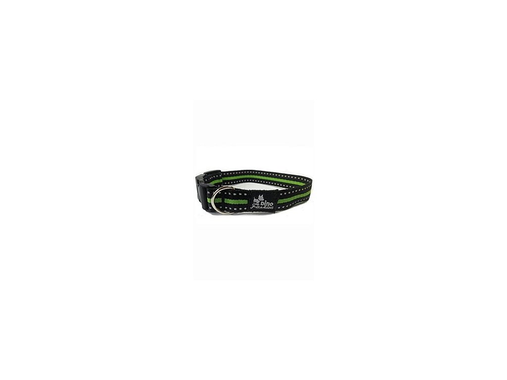 Obojek DINOFASHION reflexní zelený 45/2,5cm