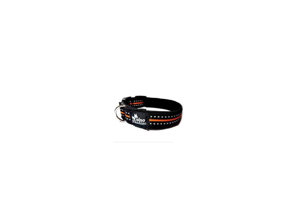 Obojek DINOFASHION reflexní černo-oranžový 35/2,5cm