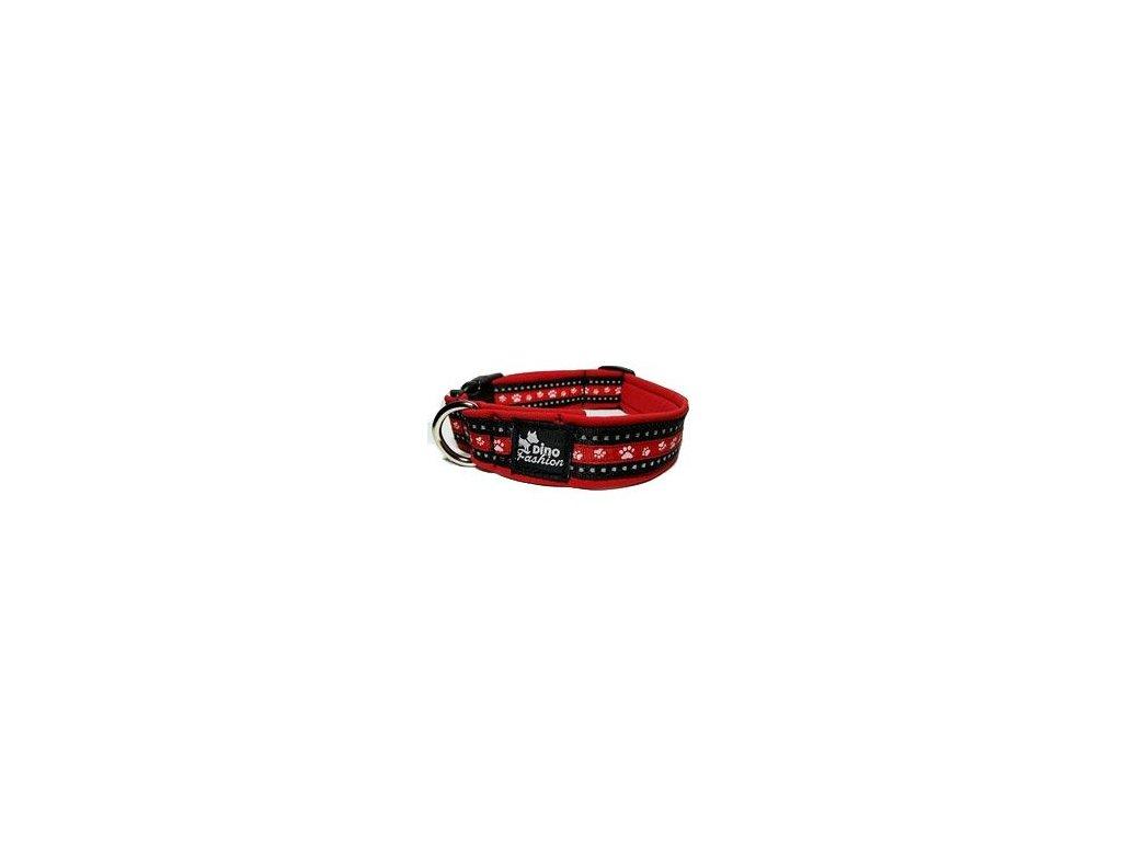 Obojek DINOFASHION reflexní červený motiv tlapky50/3cm