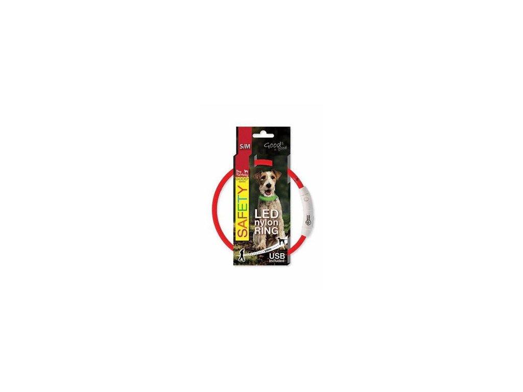 Obojek DOG FANTASY světelný USB červený 45cm 1ks