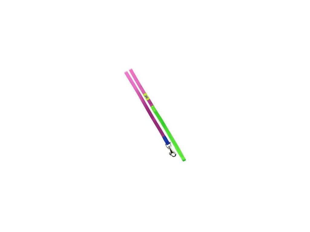 Vodítko nylon CLUB G 10mmx120cm fialovo-zelené FP 1ks