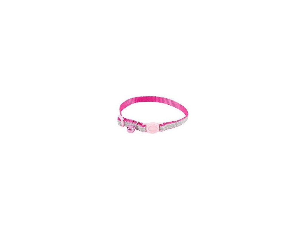 Obojek kočka SHINY nylon růžový 10mm/30cm Zolux