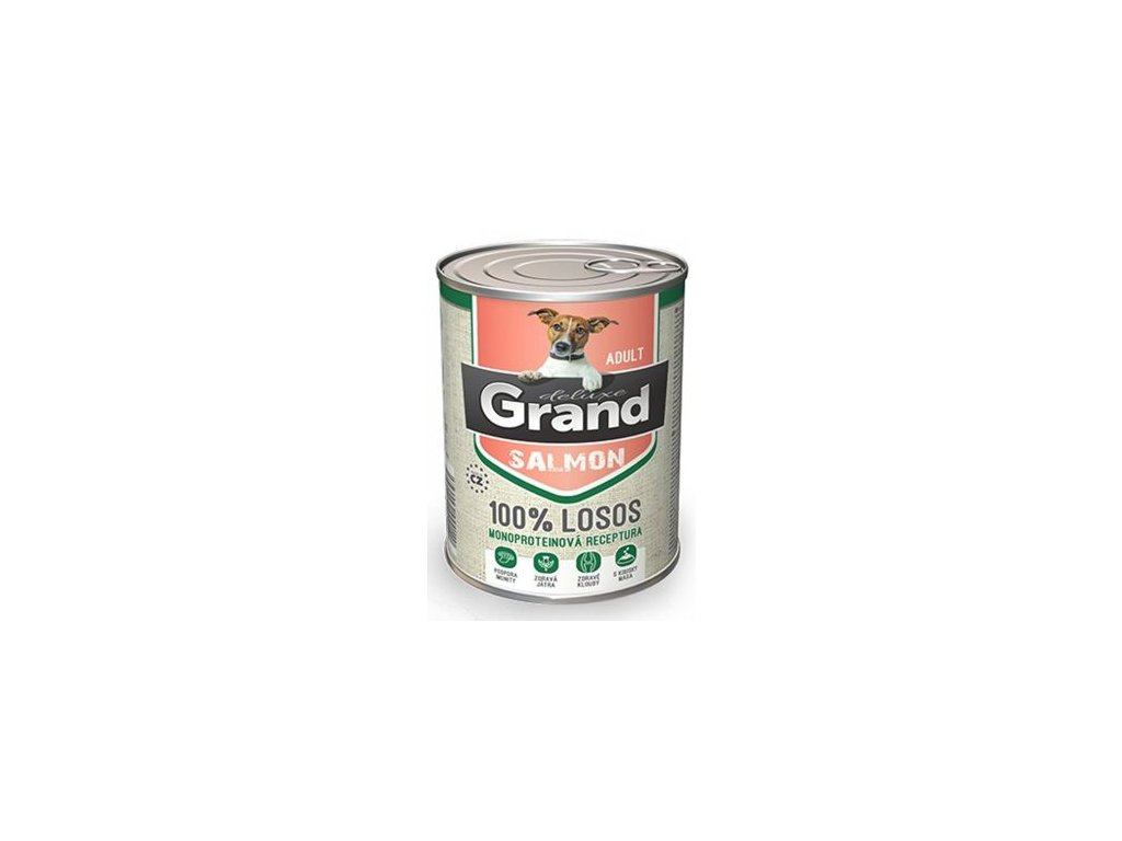 GRAND konz. deluxe pes 100% losos adult 400g