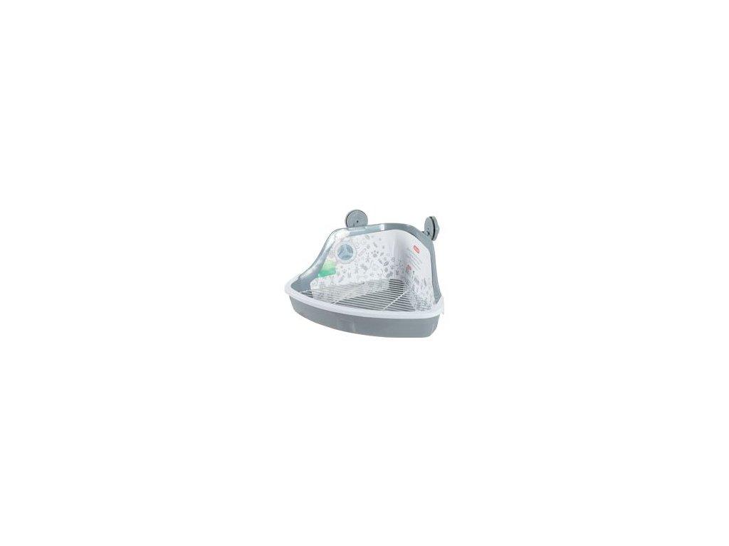 Toaleta pro hlodavce rohová malá šedá Zolux