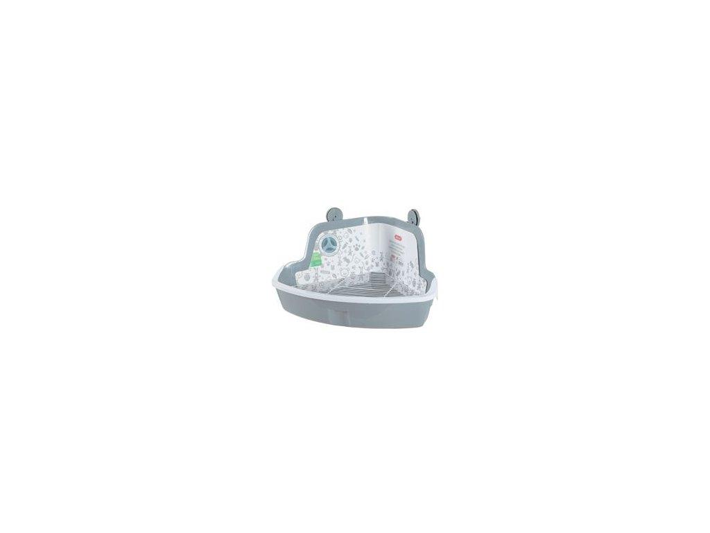 Toaleta pro hlodavce rohová velká šedá Zolux