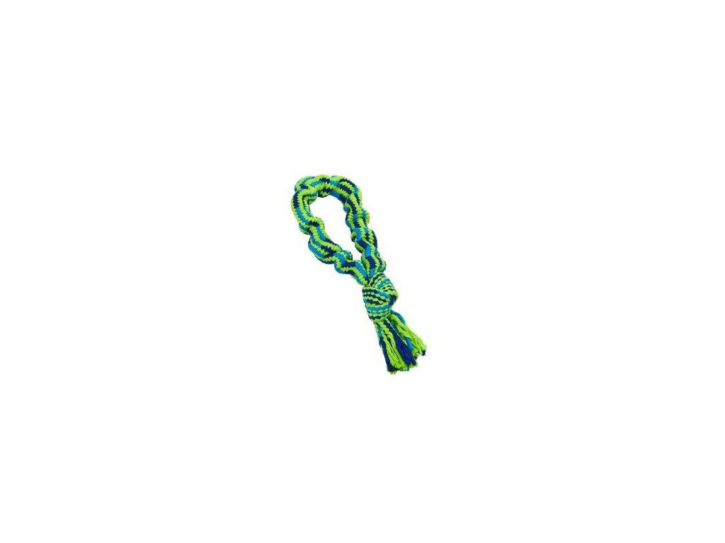 Hračka pes Bungee Smyčka s uzlem modrá/zelená 33cm