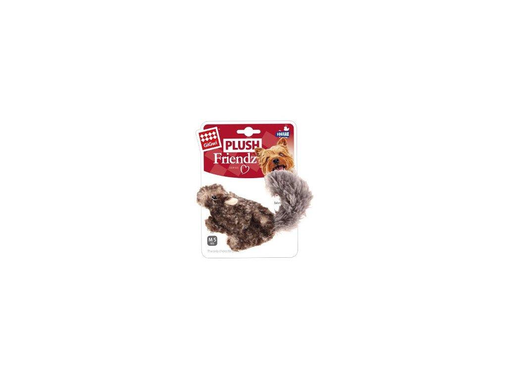 Hračka pes GiGwi Plush Friendz veverka šedá plyš