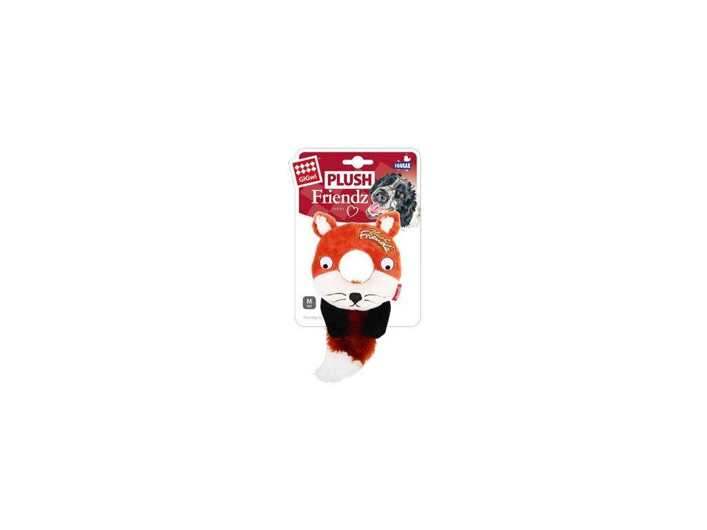 Hračka pes GiGwi Plush Friendz liška s gumovým krouž.