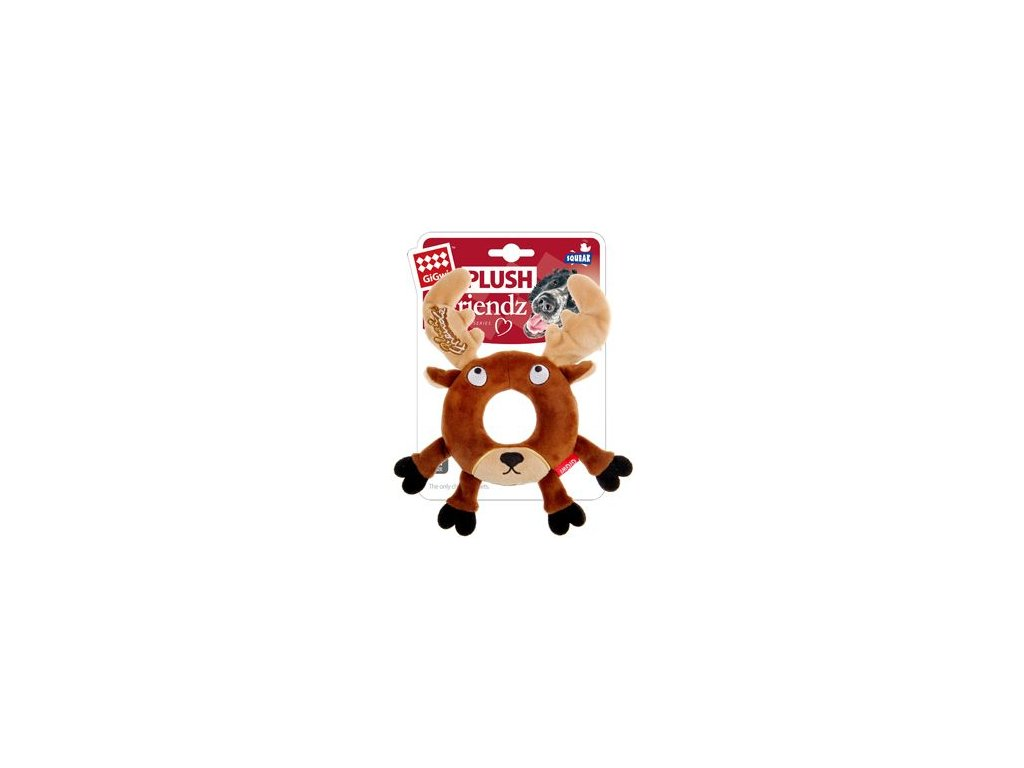 Hračka pes GiGwi Plush Friendz sob s gumovým kroužkem