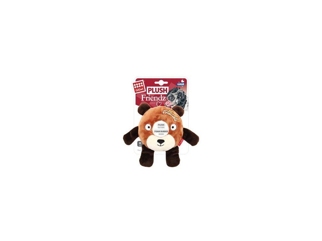 Hračka pes GiGwi Plush Friendz medvěd s gumovým kroužk