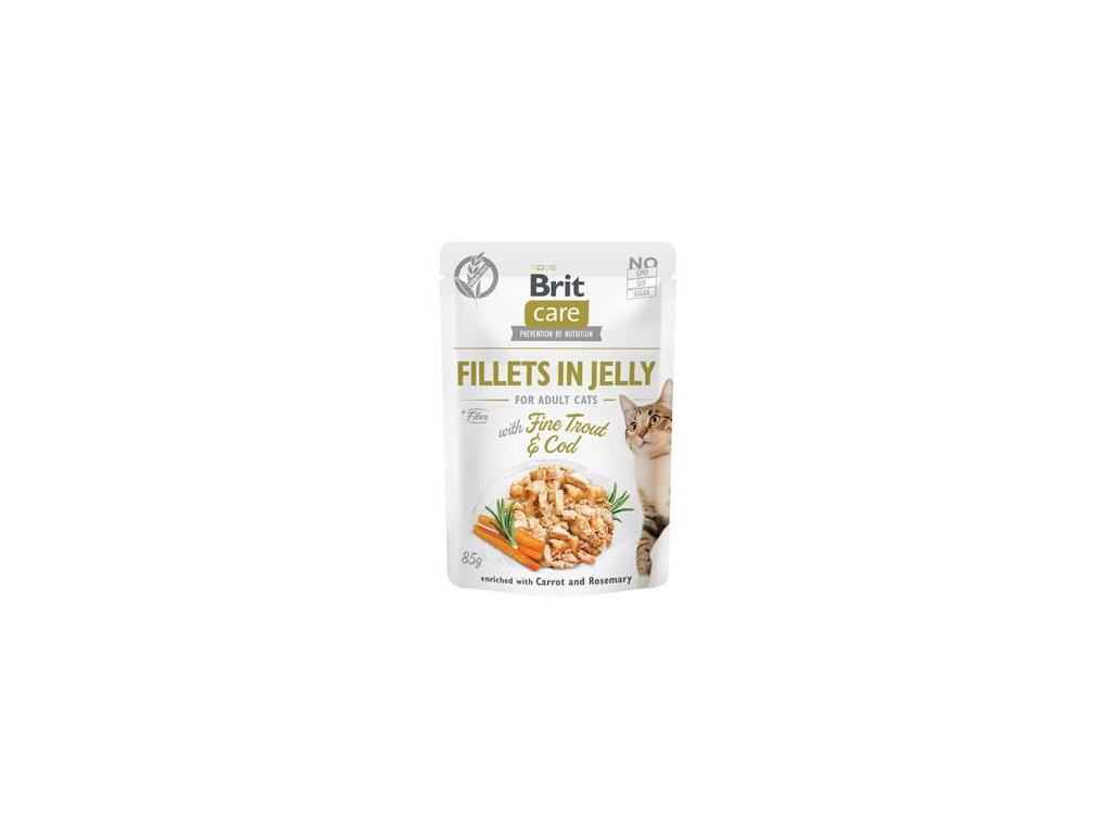 Brit Care Cat Fillets in Jelly with Trout&Cod 85g