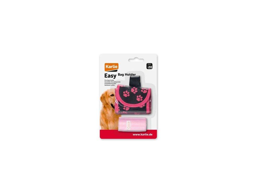 Pouzdro nylon černo-růžové + sáčky KAR 2x20ks