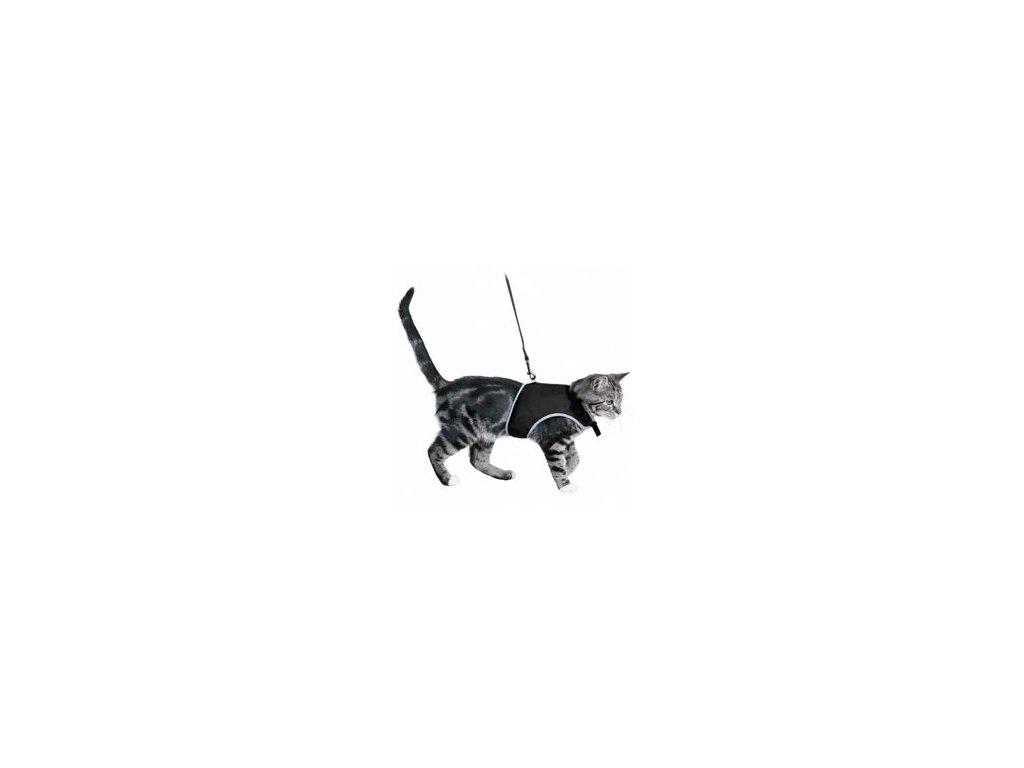 Postroj kočka vesta 36-54cm /1,20m černá TR