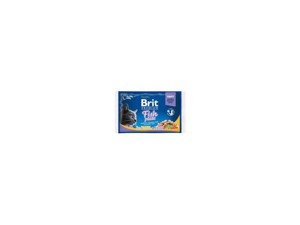 Brit Premium Cat kapsa Fish Plate 400g (4x100g)