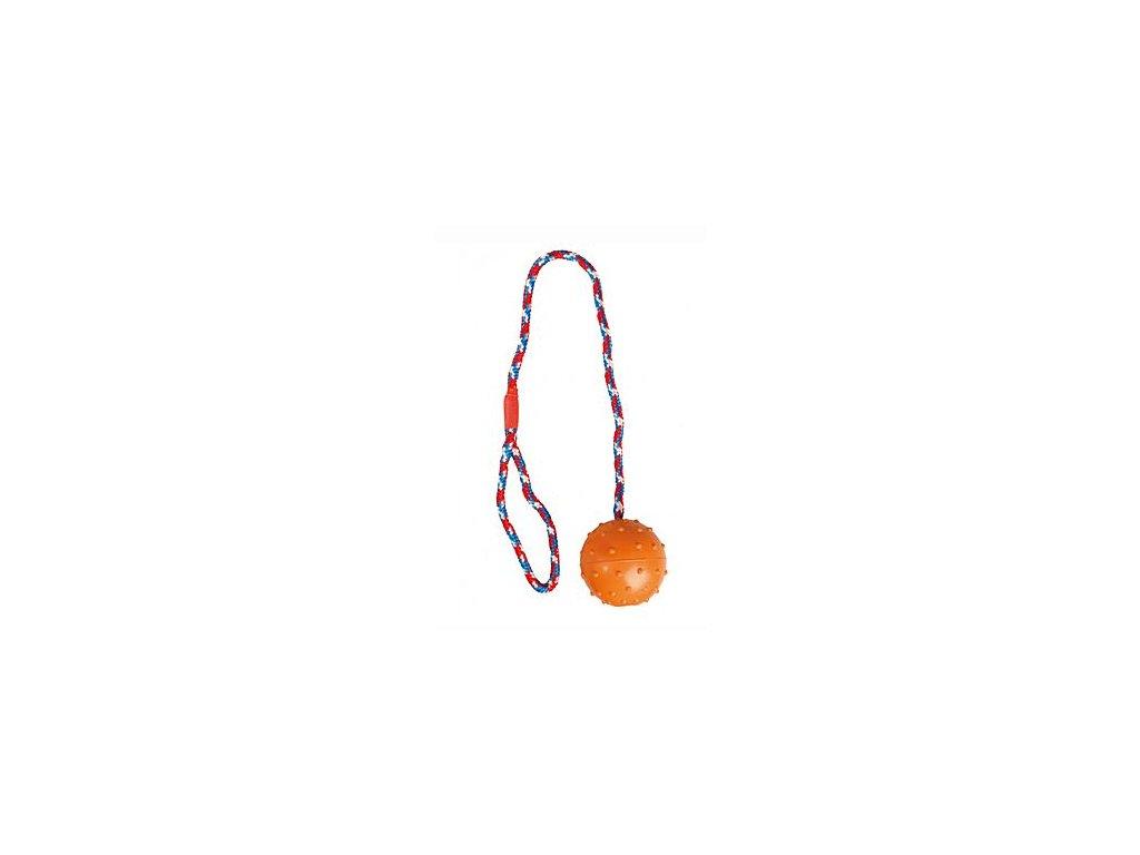 Hračka pes Míč gumový přetahovací s provazem