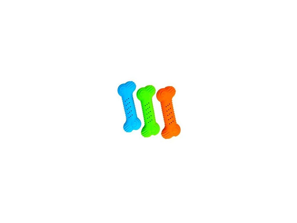 Hračka pes Kost gumová praskací mix barev