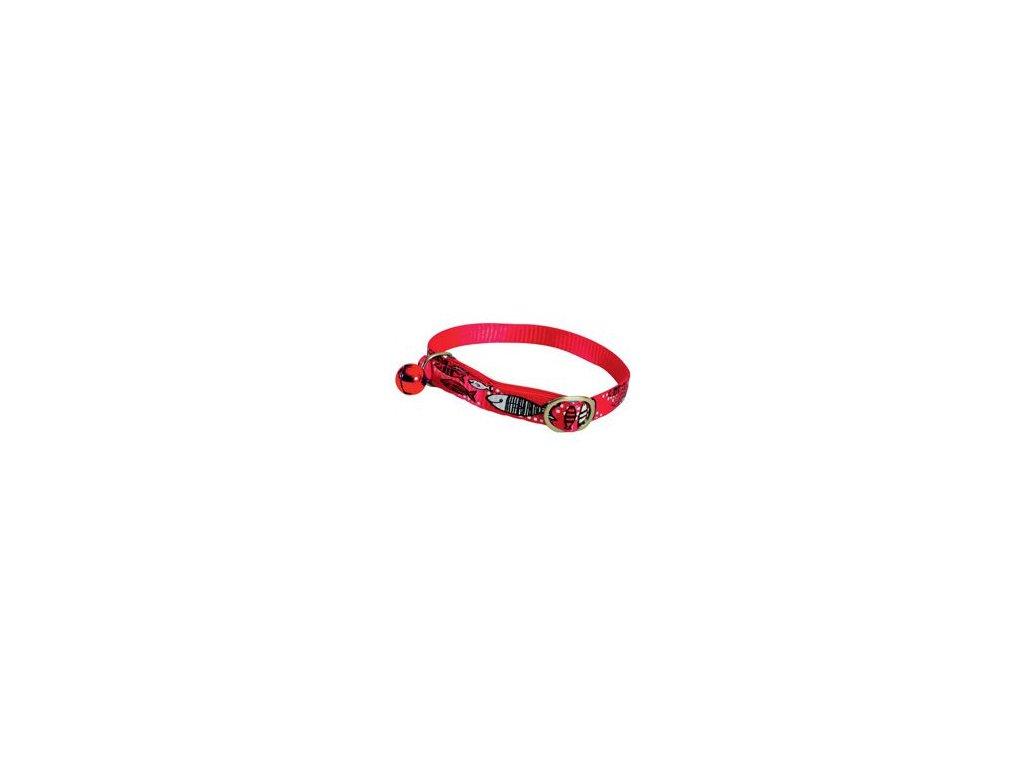 Obojek kočka SARDINE nylon červený 10mm/30cm Zolux