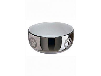Miska keramická kočka stříbrná s tlapkou