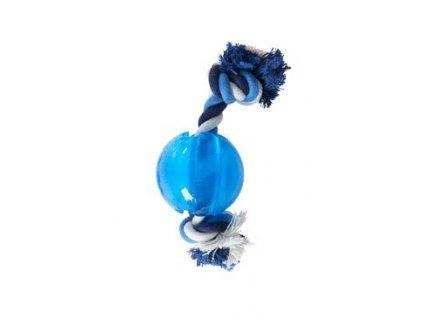 Hračka pes BUSTER Song Ball s provazem světlemodrá