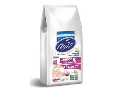 Agil Junior All Breed Low Grain Chicken, Lamb, Tuna 10kg